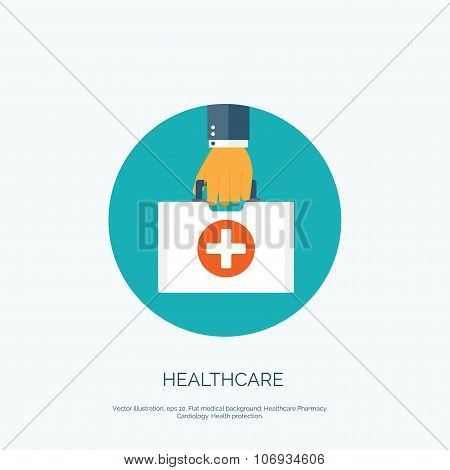 Vector illustration. Flat background with hand and medical bag. Healthcare and first aid kit. Diagno