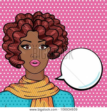 Vector Afro Girl Thinking With Space For Your Text, Pop Art Comic Style Illustration