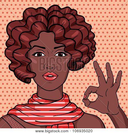 Vintage African American Woman Showing Ok Gesture Pop Art Comic Style Illustration.