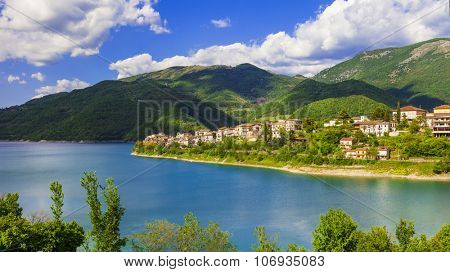 scenic landscapes -lake Turano and village Colle di Tora, Italy