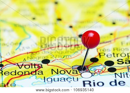 Nova pinned on a map of Brazil