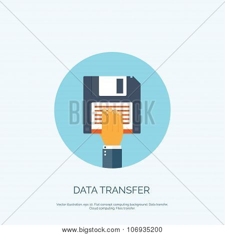 Vector illustration. Flat background with hand and floppy disc. Data transfer. Information.