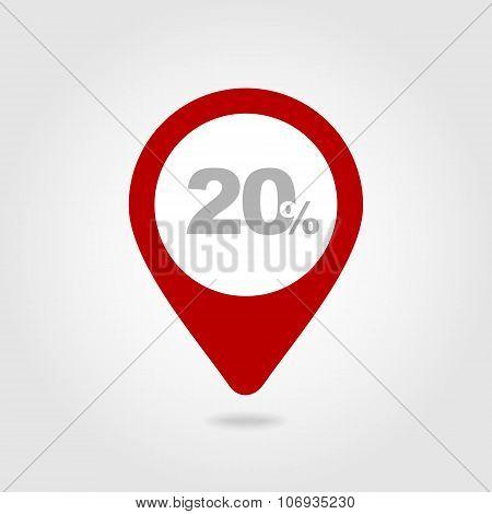 20 Twenty Percent Sale Pin Map Icon. Map Point.