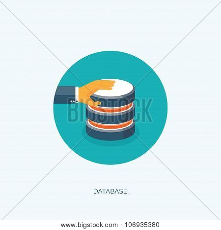 VEctor illustration. Flat data storage. Cloud computing. Database.