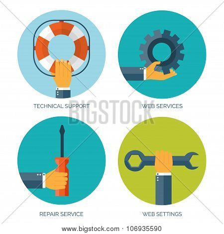 Vector illustration. Flat background with hand and lifebuoy and tools.  Technical support concept. O
