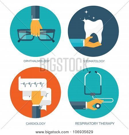 Vector illustration. Flat medical background. Cardiology and stomatology. First aid and diagnostic.