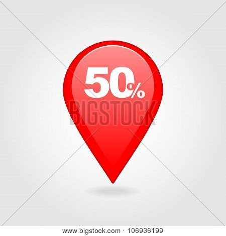 50 Fifty Percent Sale Pin Map Icon. Map Point.