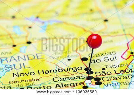 Novo Hamburgo pinned on a map of Brazil