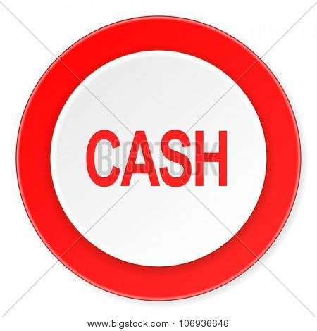 cash red circle 3d modern design flat icon on white background