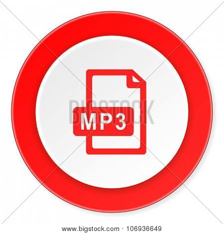 mp3 file red circle 3d modern design flat icon on white background