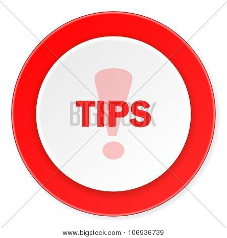 tips red circle 3d modern design flat icon on white background