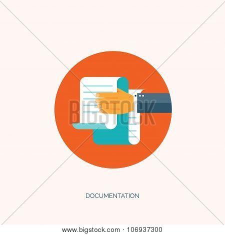 Vector illustration. Flat paper document. Emailing and global communication. Letter. Book and learni