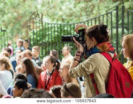 Girl Photographer With Bag