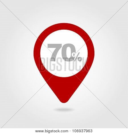 70 Seventy Percent Sale Pin Map Icon. Map Point.