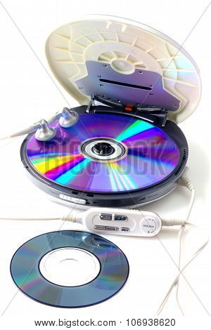 Portable CD audio player isolated on white