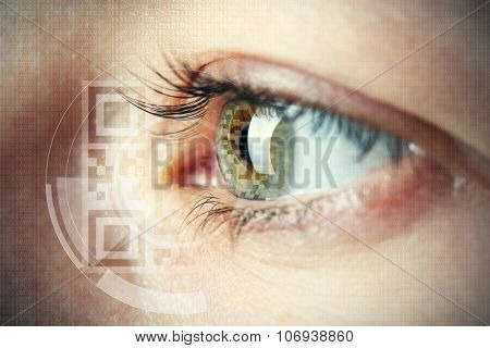 Human eye with integrated  QR code