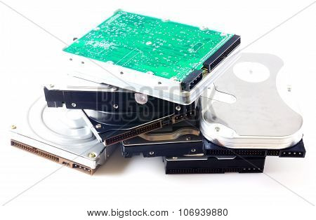 Hard disk drives isolated on white
