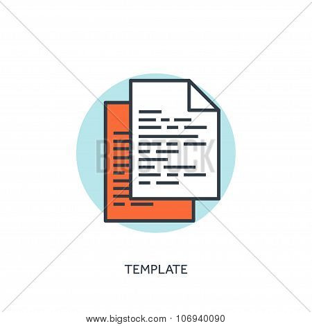 Flat lined template icon. program code. Programming and coding.