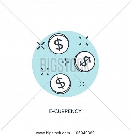 Flat lined coins icon. E-currency concept background.