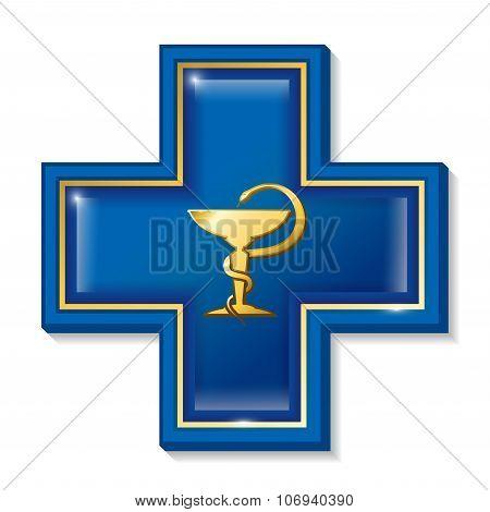 Health services sign, symbol. Medicine snake symbol, cross