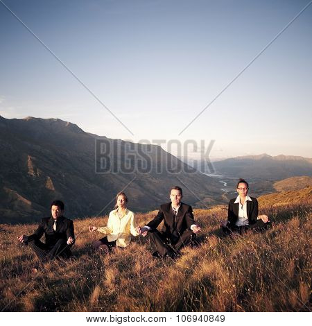 Business People Meditating Mountain Outdoors Concept