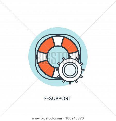 Lifebuoy flat web icon. Internet support concept background.