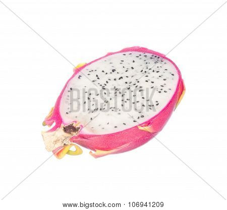 Sliced Dragon Fruit Isolated On White