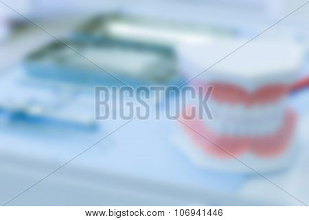 Set Of Dentistry Medical Tools, Blurred