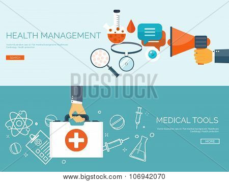 Vector illustration. Flat header. Medical background. First aid and diagnostic. Medical research and