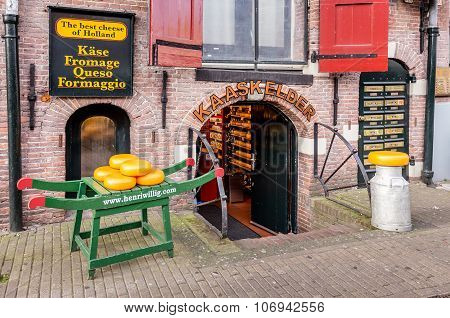 Traditional cheese shop on a street in Amsterdam, Netherlands.