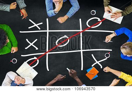Tic Tac Toe Game Competition XO Win Concept