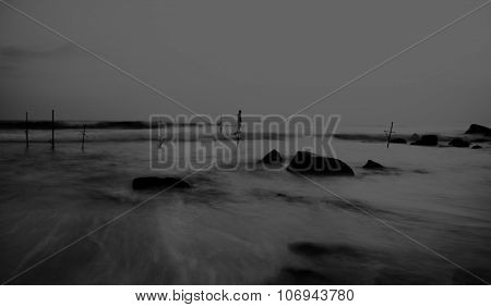 Dreamy Sea Coastline Fishing Stilts Young Playing Concept