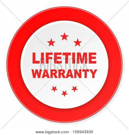 lifetime warranty red circle 3d modern design flat icon on white background