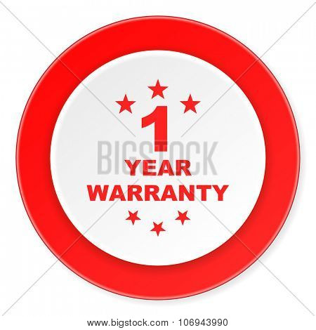 warranty guarantee 1 year red circle 3d modern design flat icon on white background
