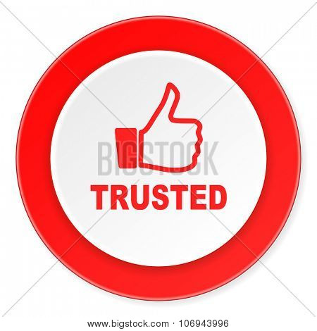 trusted red circle 3d modern design flat icon on white background