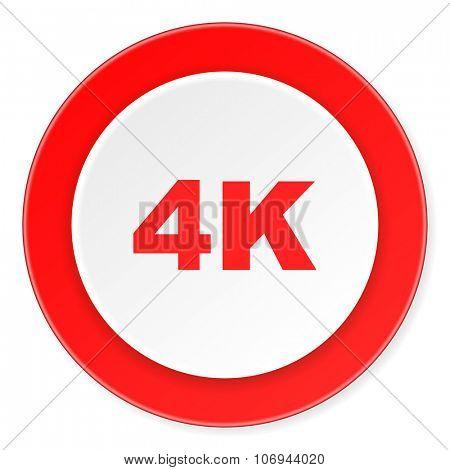 4k red circle 3d modern design flat icon on white background