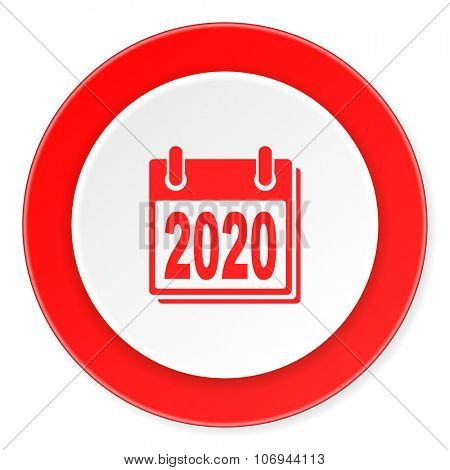 new year 2020 red circle 3d modern design flat icon on white background