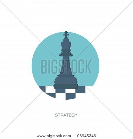 Vector illustration of flat background with chess, business and company strategy. Development and pl