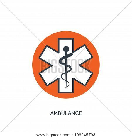 Vector illustration. Ambulance szmbol. Medical icon. First aid help and diagnosis.Medical research a
