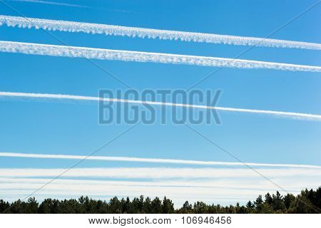 Chemtrails On Blue Sky