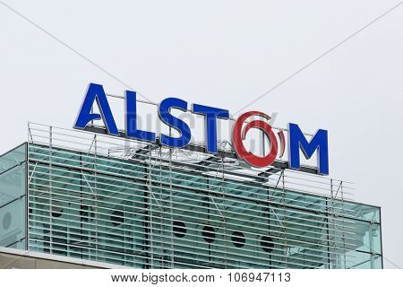 BADEN, SWITZERLAND. October 31, 2015. Last days of the Alstom logo on rooftop of thermal power headquarters before merger and acquisition of General Electric on 2nd November 2015.