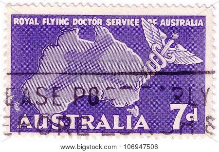 Australia - Circa 1957: A Stamp Printed In Australia, Is Dedicated To Royal Flying Doctor Service Of
