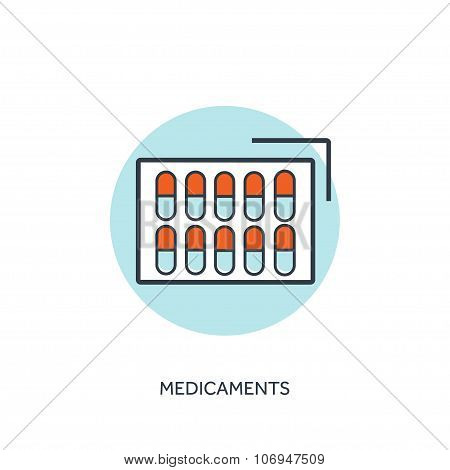 Vector illustration.Pills and antibiotics. Medical icon. First aid help and diagnosis.Medical resear