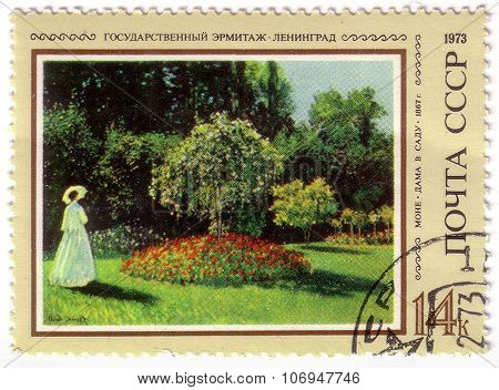 Ussr- Circa 1973: A Stamp Printed By Ussr, Painter Monet, Lady In Garden, 1867, State Hermitage Muse