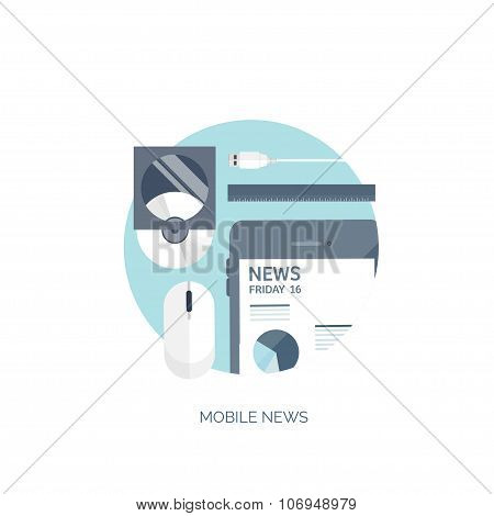 Vector illustration. Flat background. Online news. Newsletter and information. Business and market n