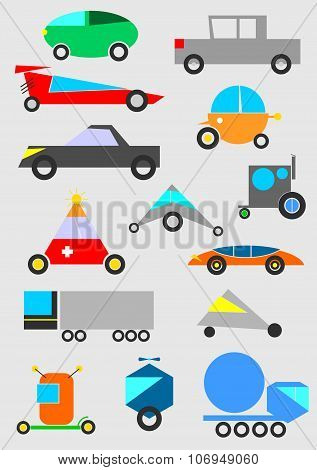 Funny Toy Car Vector Background