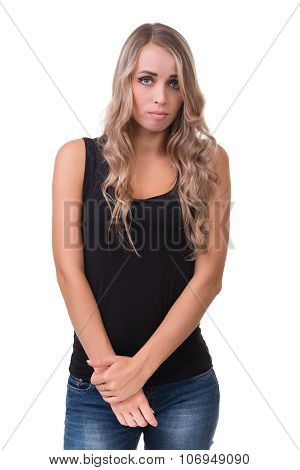 young woman looks skeptical
