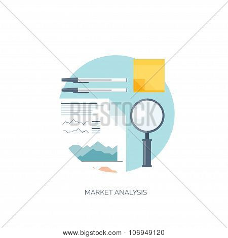 Flat vector illustration. Flat background. Finance and market news. Loupe and pencil.