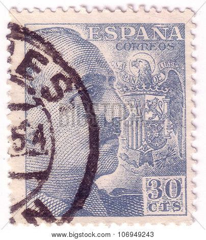 Spain - Circa 1941: Blue Color Stamp Printed In Spain With Portrait Of General Francisco Franco, Cir