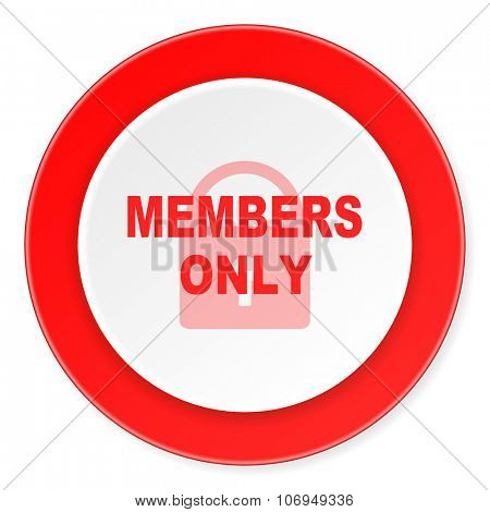 members only red circle 3d modern design flat icon on white background